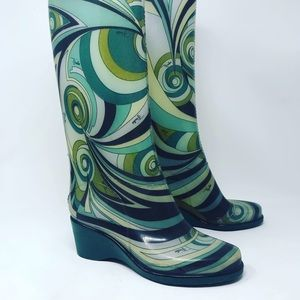 Vintage Emilio Pucci wedged rain boots